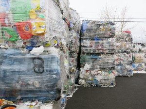 The plastic Durham has collected so far in their Airdrie yard.
